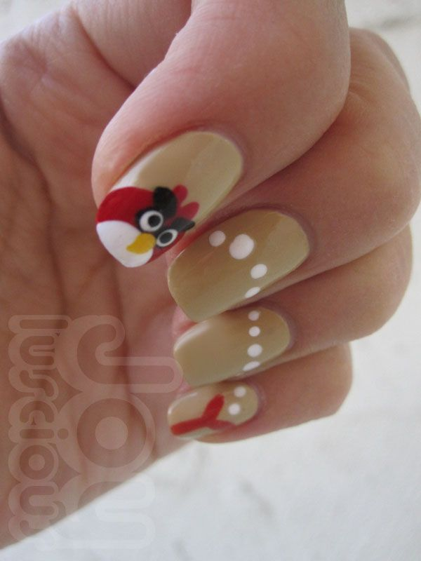 Great Birds Angry Bird Nail Art Design