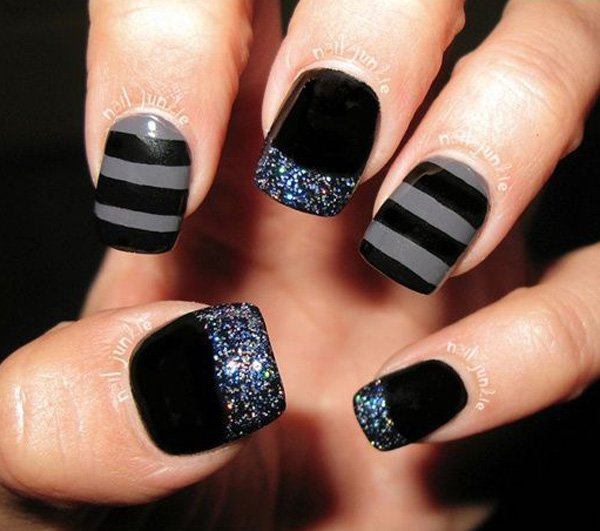 Great Black And Grey Nails With Sparkling Tip