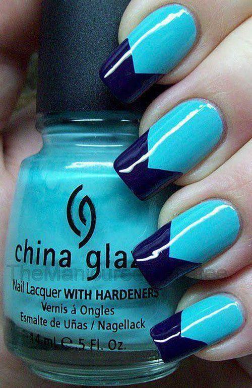 Great Blue Nails With V Shape Design