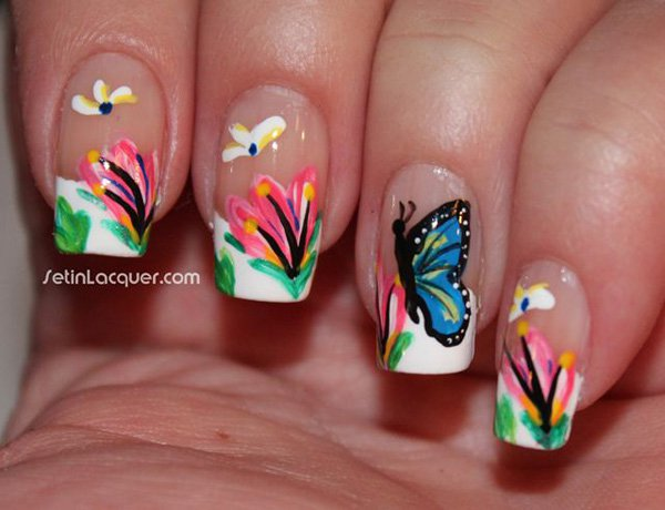 Great Butterfly Nail With Colorful Butterfly