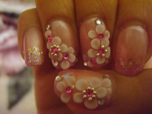 Great Crystal Tips With Flower 3D Rose Flower Nail Art