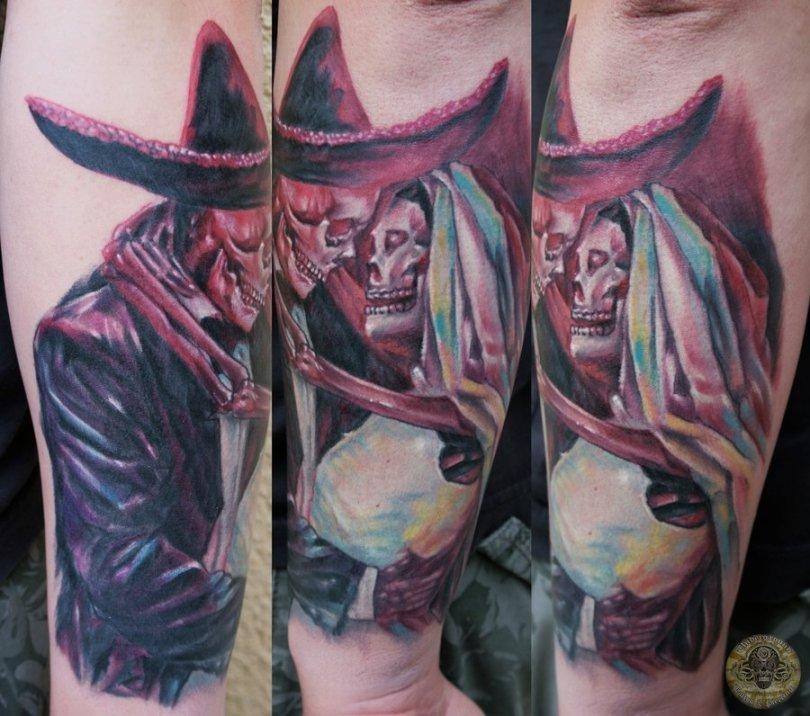 Great Dia De Los Muertos Ghost Couple Tattoo Design For Boys