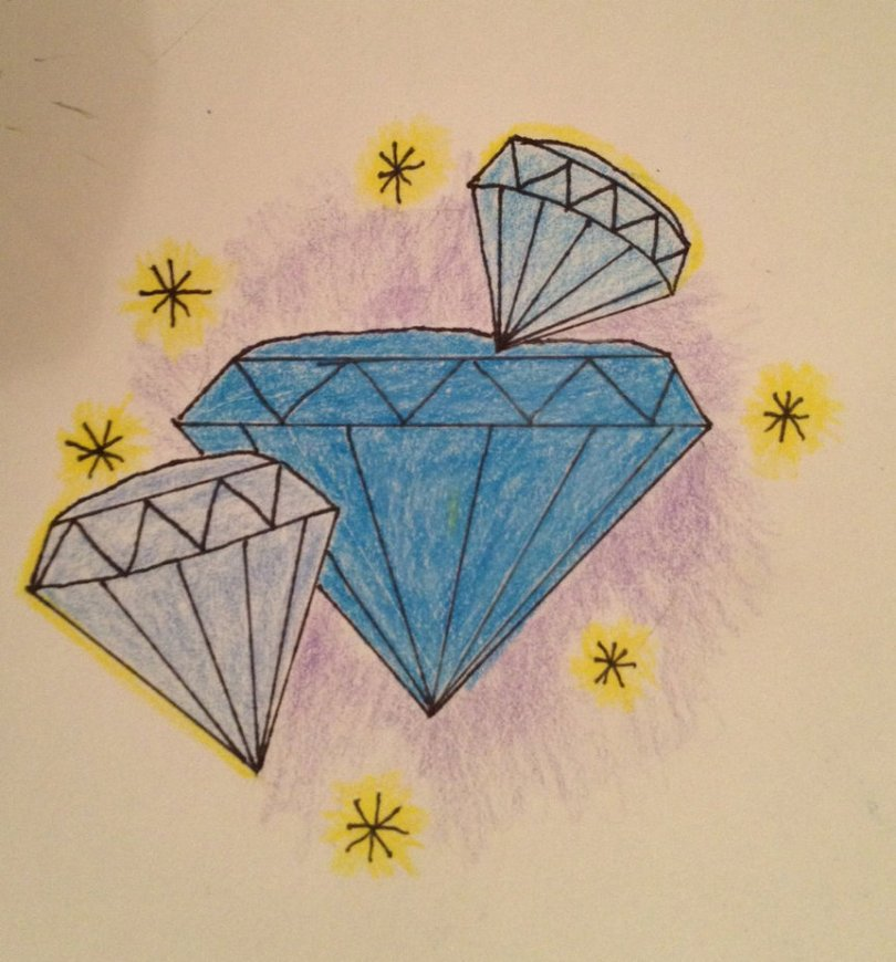 Great Diamond Tattoo Drawing For Girls