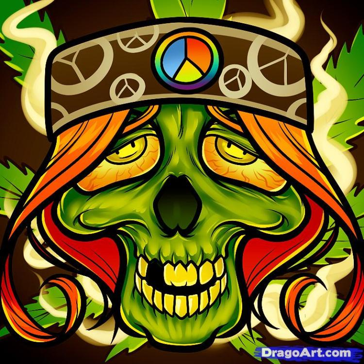 Great Hippie Skull Tattoo Art For Boys