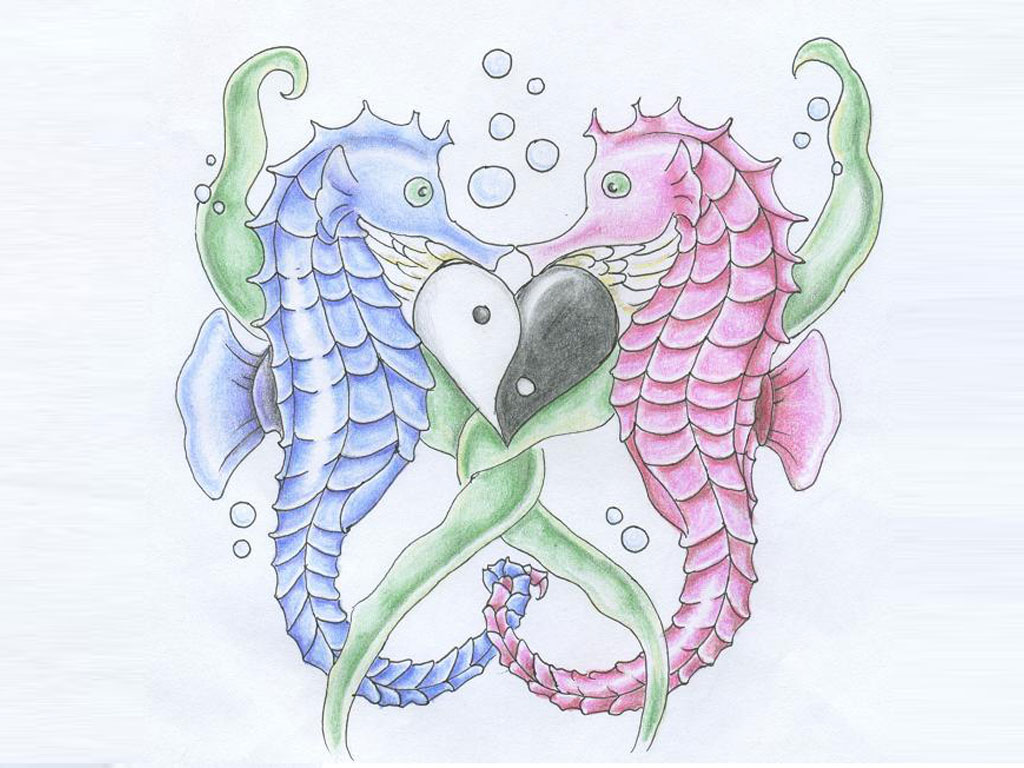 Great Love Of Two Seahorses Tattoo Design For Girls