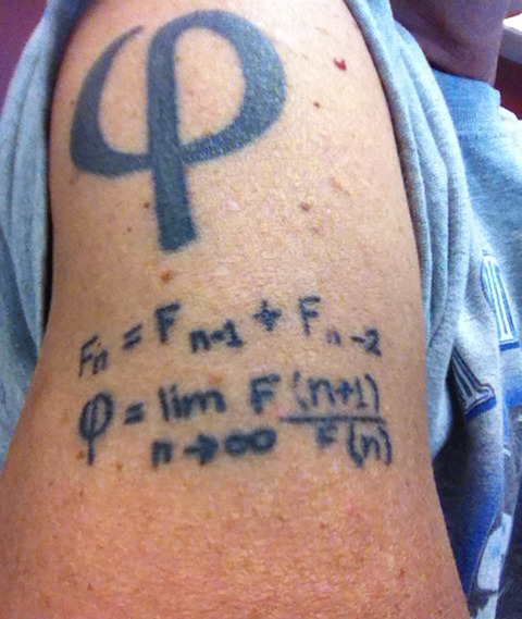 Great Phi Geek Tattoo On Biceps For Boys