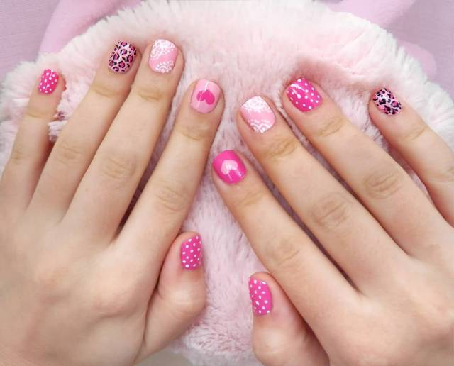Great Pink Heart Shaped design In Acrylic Short Nail Design
