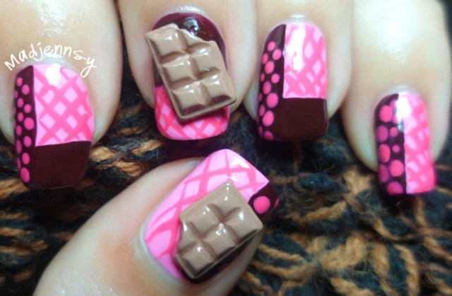 Great Pink Lining With Dark Brown 3D Nail Art