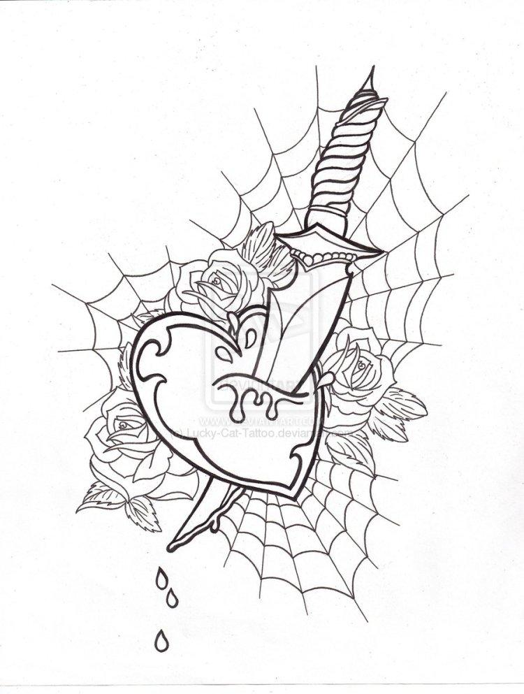 Great Uncolored Heart Dagger Tattoo Design For Boys