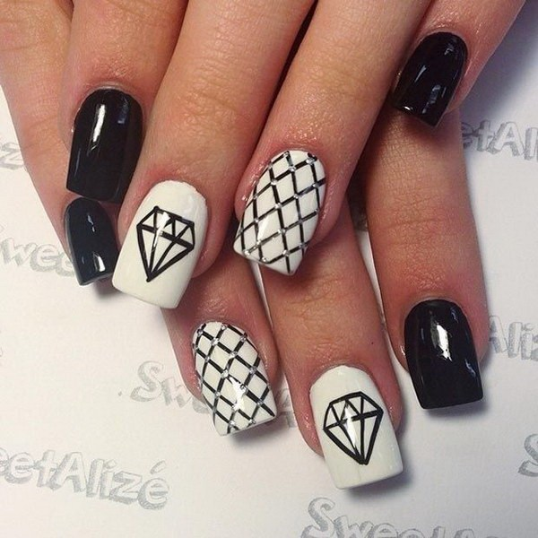 Great White And Black Nail Art With diamond design