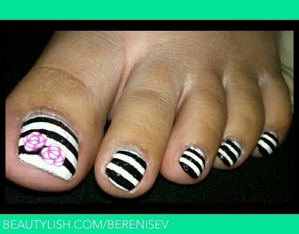 Great White And Black Stripes Accent Nail Art