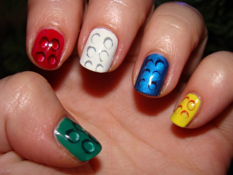 Greatest Colorful With Black Dot Birthday Nail Art
