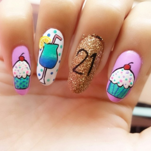 Greatest Ice Cream And Golden Decoration Birthday Nail Art