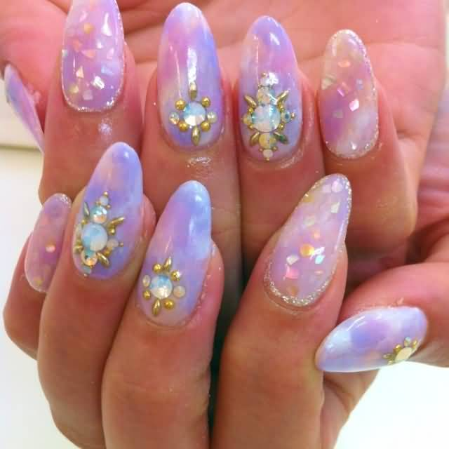 Greatest Mixed Color Nail With Rhinestone Almond Shaped Acrylic Nail Art