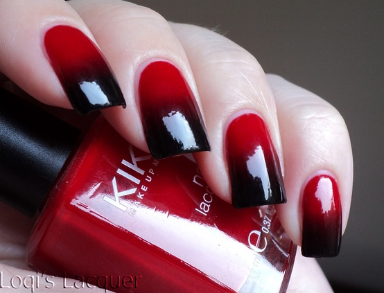 Greatest Red And Black Nails With Black Tip