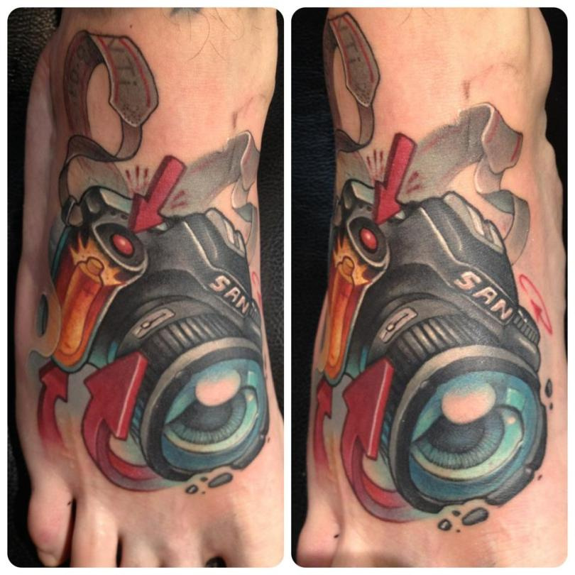 Groovy Camera Foot Tattoo For Boys