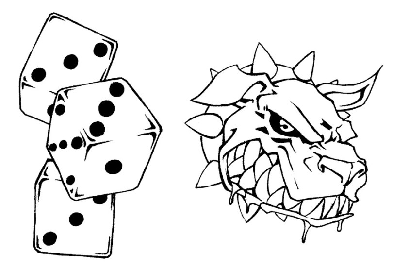 Groovy Dice n Dog Tattoo Sample For Girls