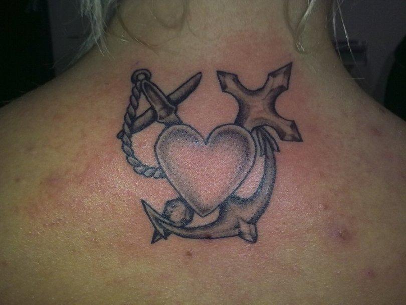 Groovy Faith Hope Love Tattoo Designs On Back For Girls