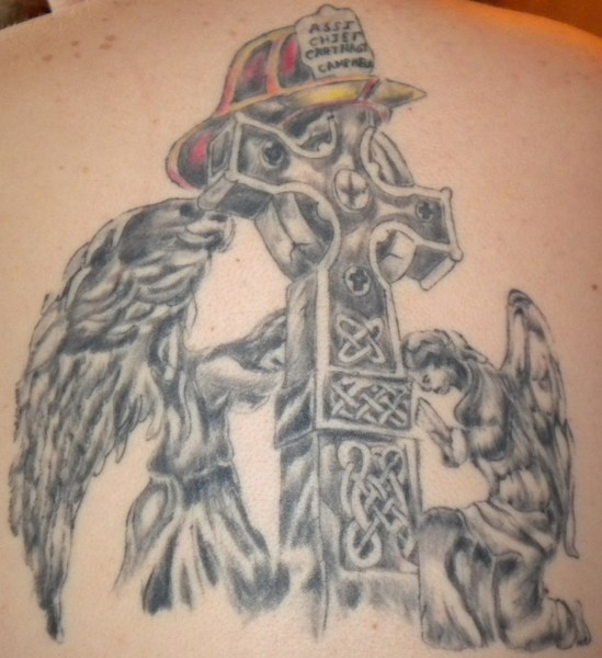 Groovy Firefighter Prayer n Cross Tattoo On Back For Girls