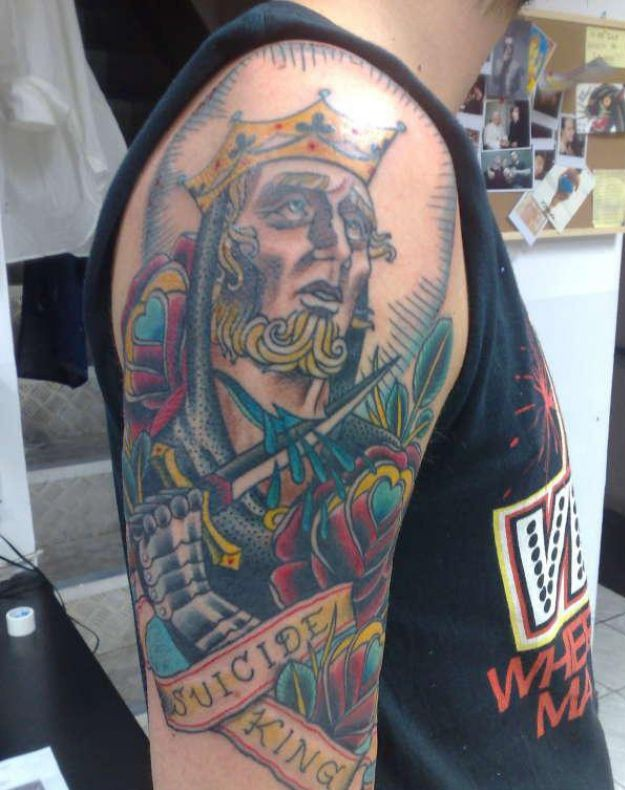 Groovy Gambling Tattoo On Shoulder For Boys