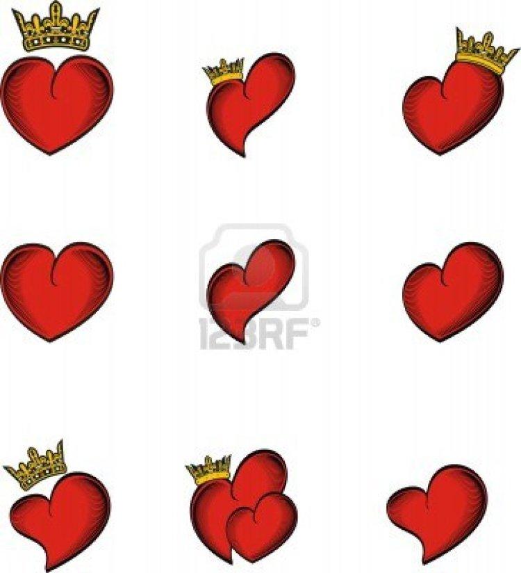 Groovy Heart n Crown Tattoo Designs For Girls