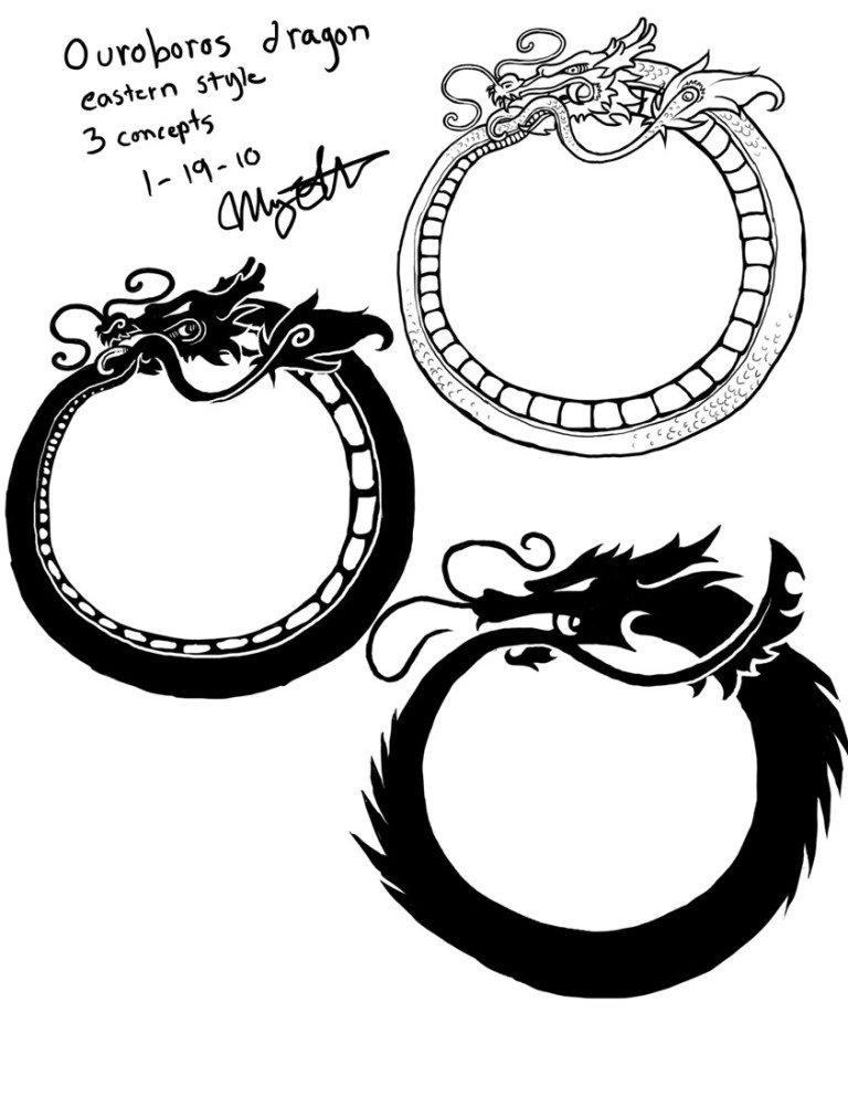 Groovy Ouroboros Dragon Tattoo Design For Girls