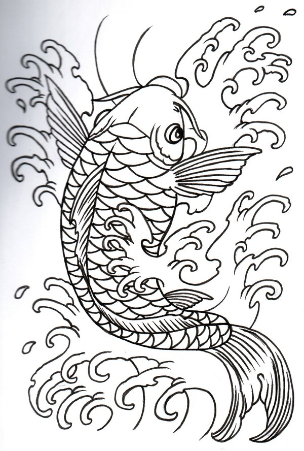 Groovy Simple Koi Fish Tattoo Design For Girls
