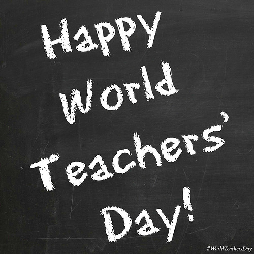 Happy World Teacher's Day Written On Blackboard