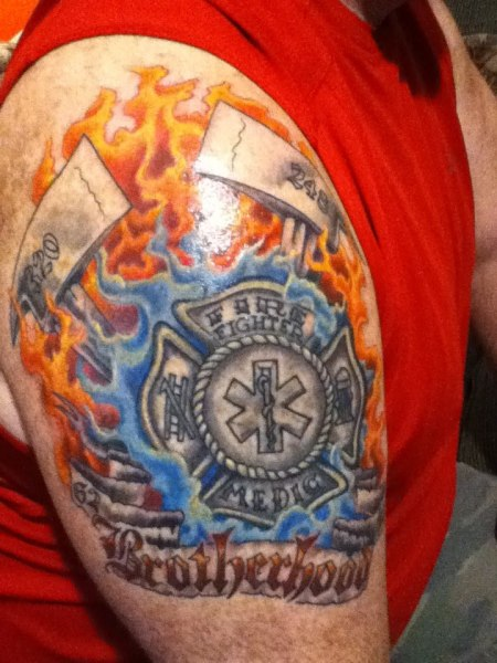 Horrible Brotherhood Firefighter Tattoo Design For Girls
