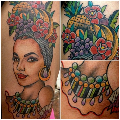Horrible Carmen Miranda Fruit Tattoo Design For Boys