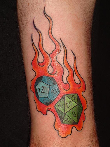 Horrible Dice Orange Fire Tattoo Design For Boys