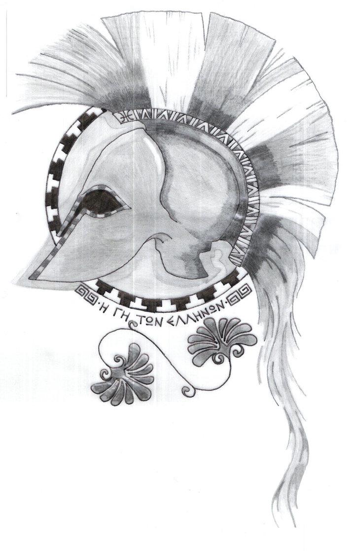 Horrible Greek Helmet Tattoo Sketch For Boys