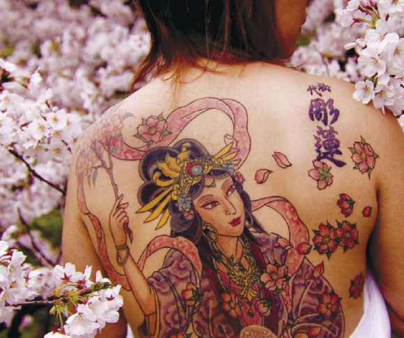 Horrible Japanese Girl Tattoo On Back Body For Girls