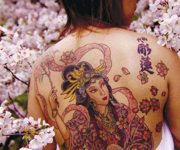Horrible Japanese Girl Tattoo On Back Body For Girls