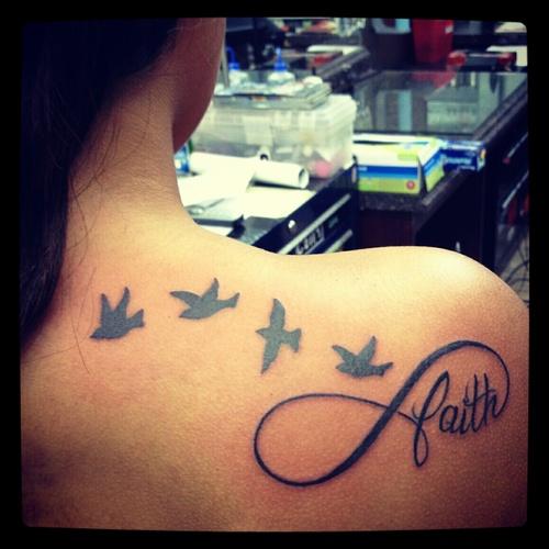 Impressive Faith n Birds Tattoo On Back Of Shoulder For Girls
