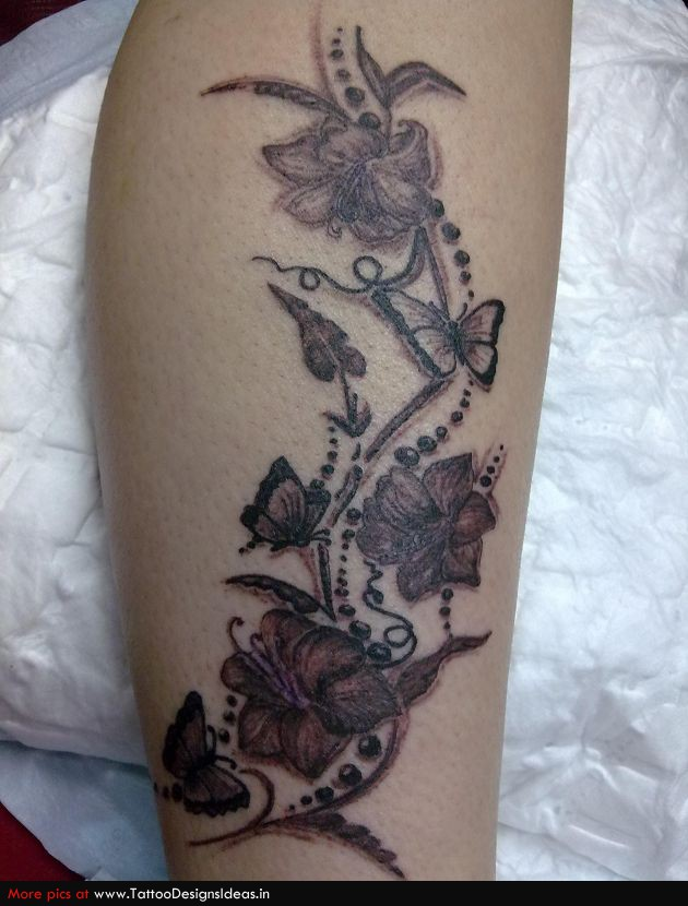 Impressive Feminine Flowers n Butterfly Tattoo Design For Girls