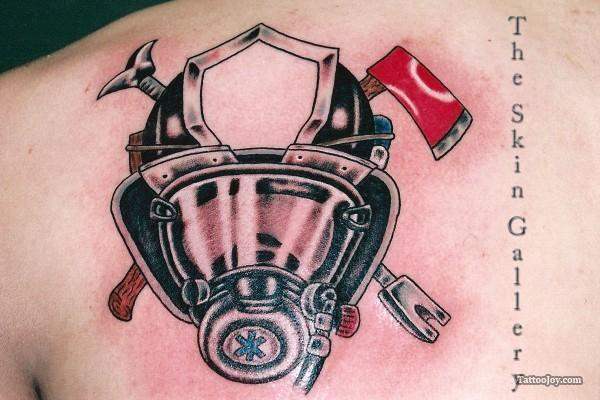 Impressive Firefighter Mask Tattoo For Boys