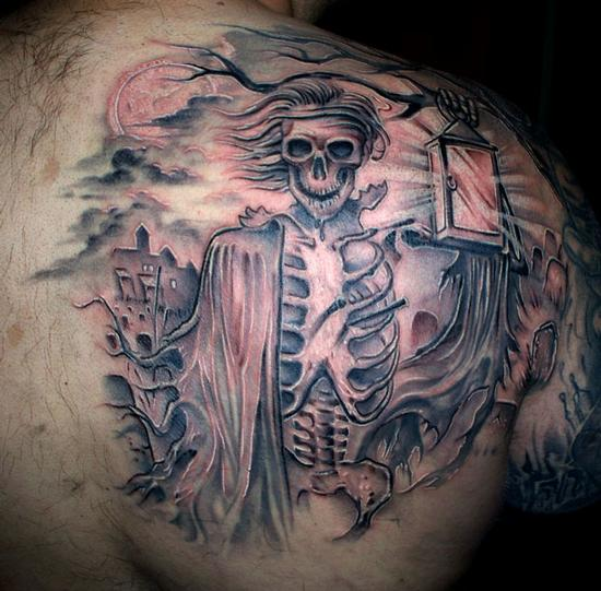 Impressive Graveyard Keeper Tattoo On Back Of Shoulder For Boys