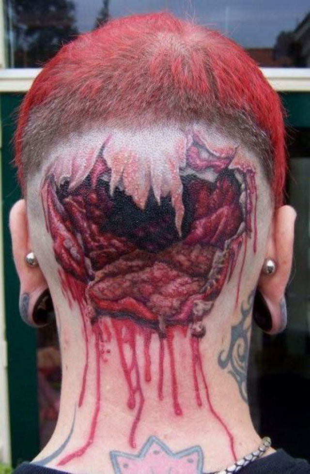 Impressive Hole In Head Tattoo Design For Boys