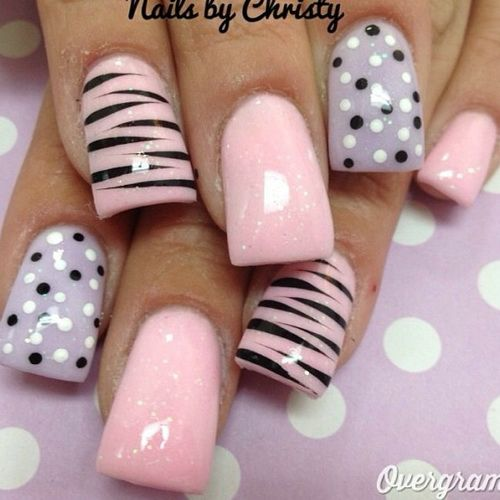 Incredible Baby Pink Color With Dotted Design Pink Acrylic Nail Art Design