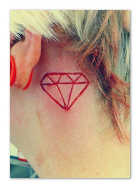 Incredible Back Ear Outline Diamond Tattoo Design For Girls