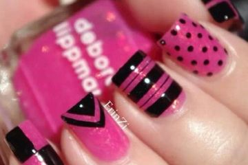 Incredible Black And Pink Nails With 4 Diffrent Design