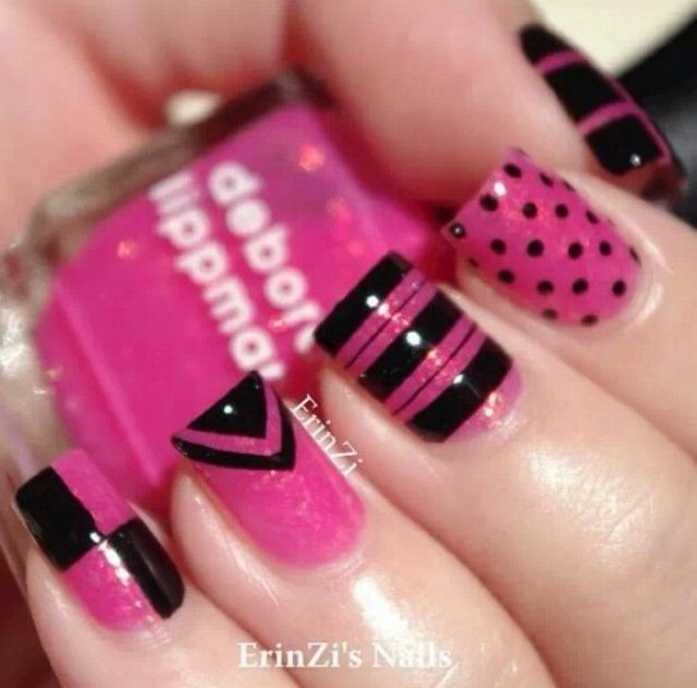 Incredible Black And Pink Nails With 4 Different Design