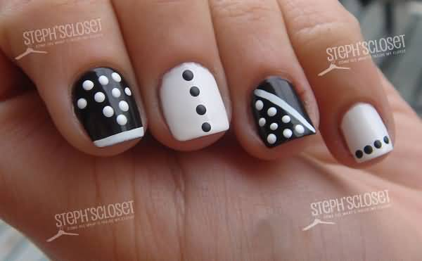 Incredible Black And White Polka Dot Nail Art With Shirt Button Design