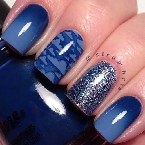 Incredible Blue Nail With Cloud Design