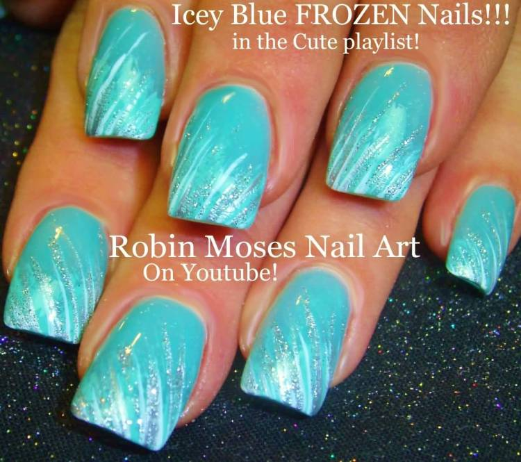Incredible Blue Nail With Silver Mix Design