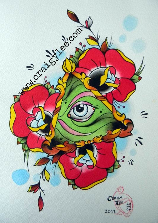 Incredible Eye n Flowers Tattoo Design For Girls