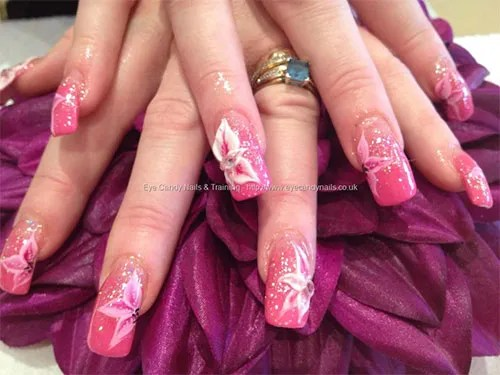 Incredible Flower In White Paint Pink Acrylic Nail Art Design