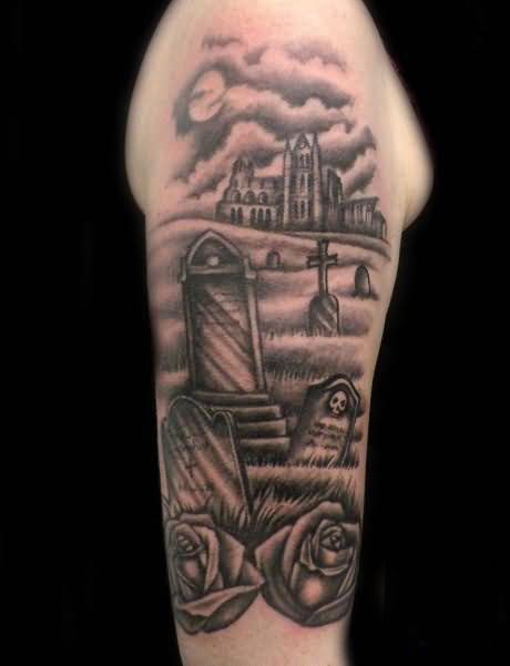 Incredible Graveyard Tattoo Design On The Arm For Boys