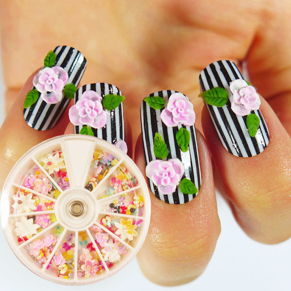 Incredible Green Leaves With Pink Flower 3D Nail Art